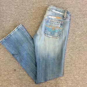 Miss Me Orange & Blue Embellished Flare Jeans   28